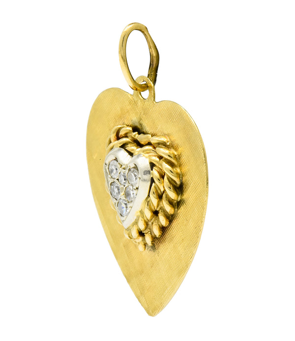 Retro Pave Diamond Platinum-Topped 14 Karat Gold Heart Charm - Wilson's Estate Jewelry