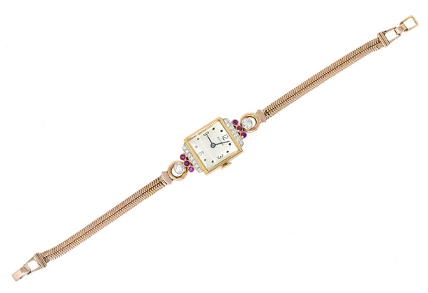 Rolex Retro Diamond Ruby 14 Karat Gold Watch Bracelet - Wilson's Estate Jewelry