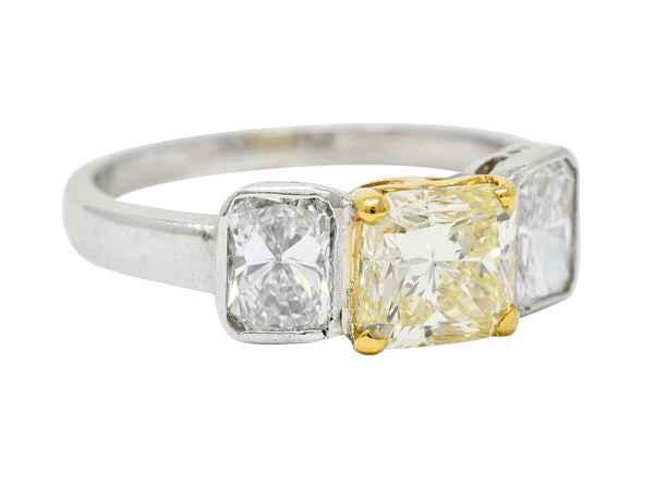 Contemporary 2.76 CTW Fancy Yellow & White Diamond 18 Karat Gold Platinum Ring