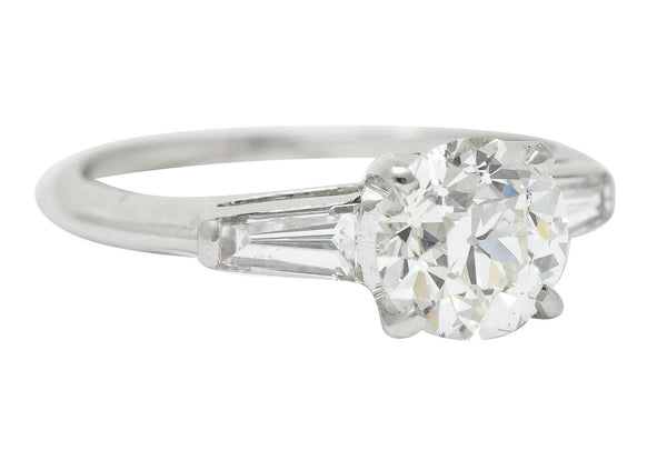 1950's Mid-Century 1.81 CTW Diamond Platinum Engagement Ring GIA