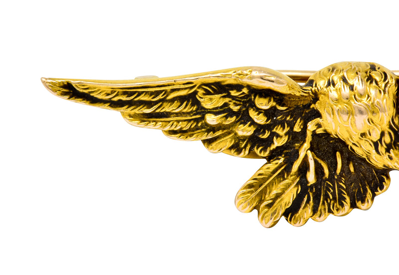 Wordley Allsopp & Bliss Art Nouveau Pearl 14 Karat Gold Eagle Brooch - Wilson's Estate Jewelry