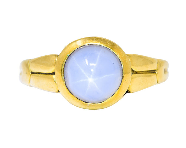 Tiffany & Co. Art Nouveau Star Sapphire 18 Karat Gold Cabochon Ring Circa 1910 - Wilson's Estate Jewelry