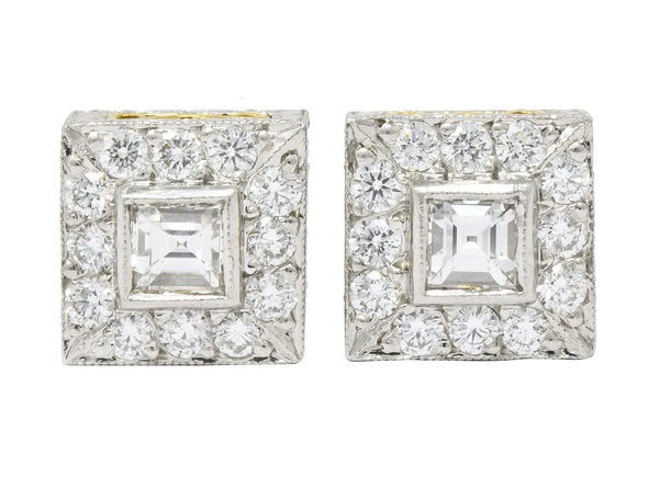 Michael Beaudry Diamond Platinum 18 Karat Gold Square Halo Stud Earrings - Wilson's Estate Jewelry