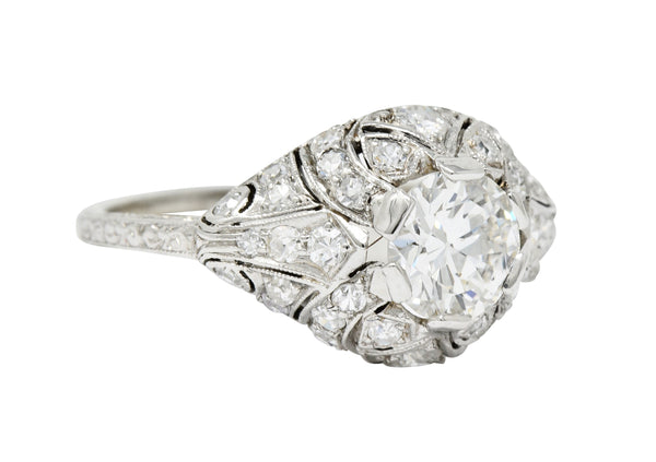 Edwardian 1.95 CTW Diamond Platinum Scrolled Engagement Ring GIA