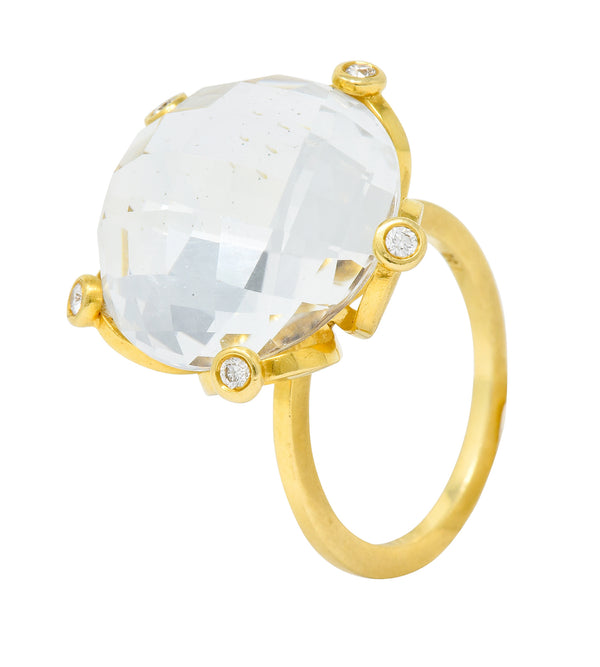 Faceted Rock Crystal Quartz Diamond 18 Karat Gold Floral Statement Ring - Wilson's Estate Jewelry
