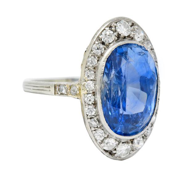 Edwardian 8.69 CTW No Heat Ceylon Sapphire Diamond 18 Karat White Gold Dinner Ring GIA
