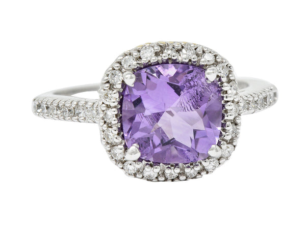 Checkerboard Amethyst Diamond Halo 18 Karat White Gold Gemstone Ring