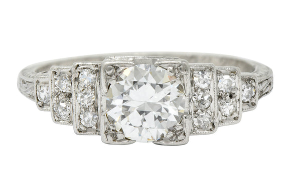 Art Deco 0.95 CTW Diamond Platinum Heart Engagement Ring