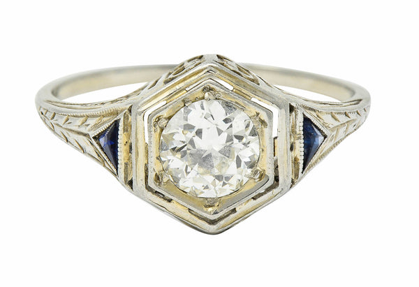 Art Deco 0.55 CTW Diamond Sapphire 18 Karat White Gold Hexagonal Ring