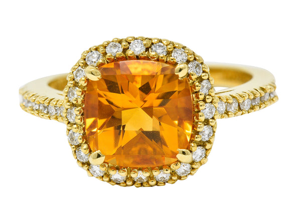 Checkerboard Citrine Diamond Halo 18 Karat Gold Gemstone Ring