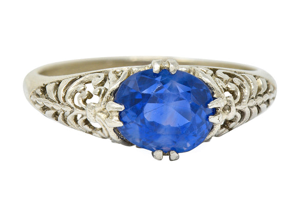 Art Deco 1.90 CTW Sapphire 14 Karat White Gold Scrolled Foliate Ring