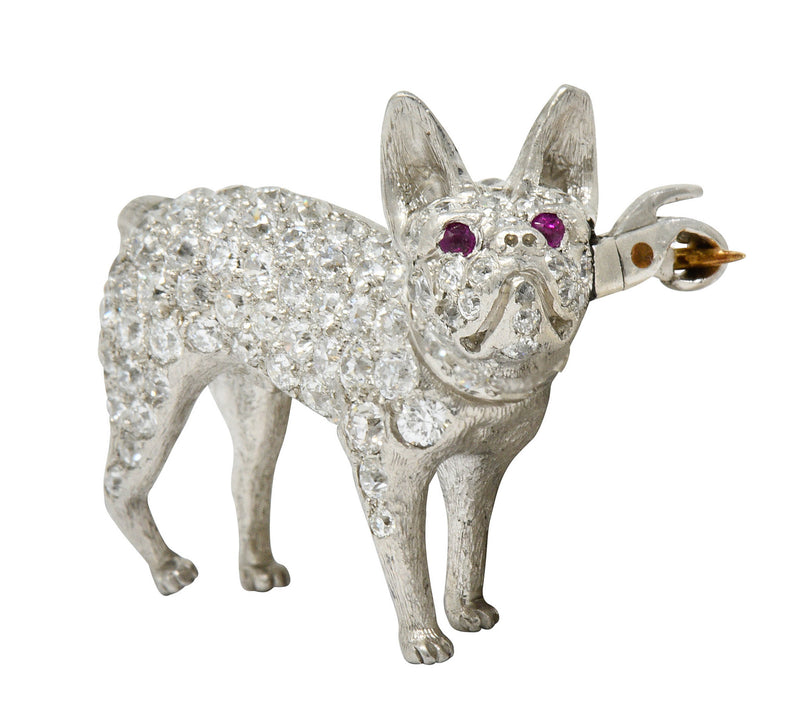Edwardian Pave Diamond Platinum French Bulldog Brooch