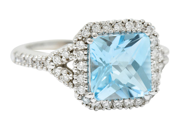 Checkerboard Blue Topaz Diamond 18 Karat White Gold Square Halo Ring