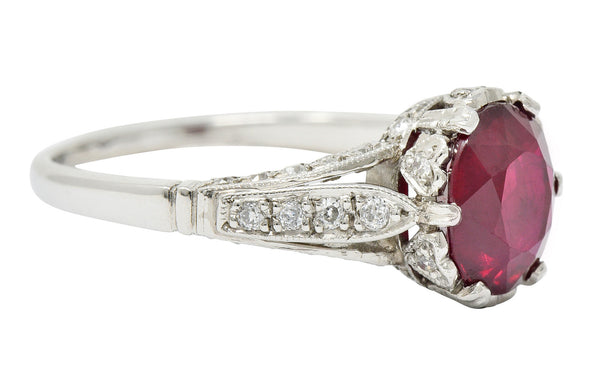 Vintage 2.44 CTW Burma Ruby Diamond Platinum Heart Ring AGL