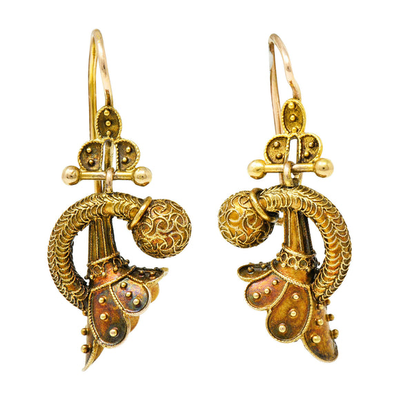 Victorian Etruscan Revival 14 Karat Gold Drop Earrings