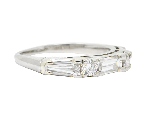 Vintage 0.80 CTW Baguette Diamond Platinum Anniversary Stacking Band Ring - Wilson's Estate Jewelry