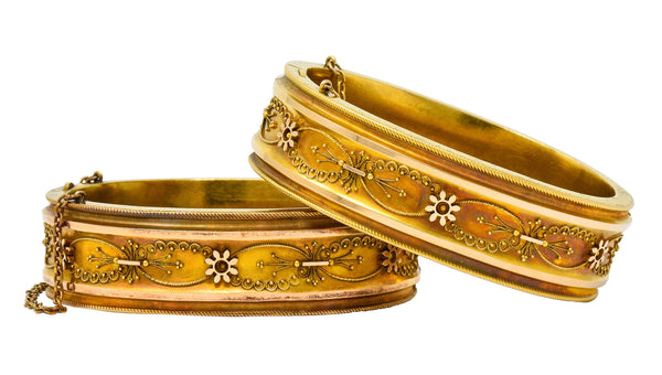 1880's Victorian 14 Karat Two-Tone Gold Marriage Bangle Bracelets