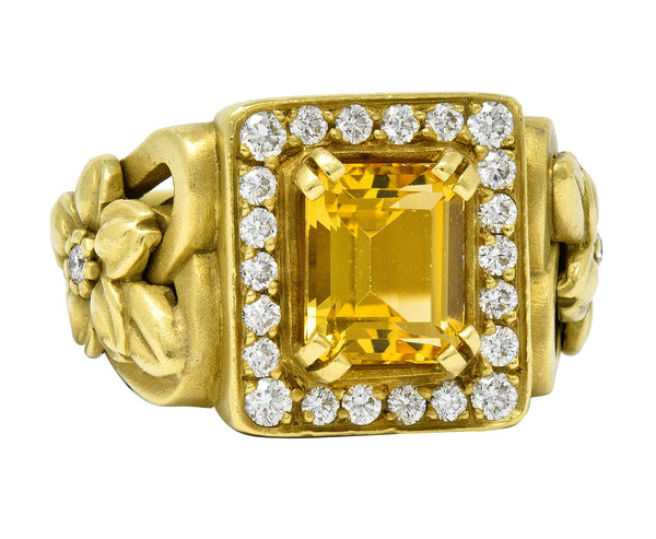 Kieselstein Cord Heliodor Golden Beryl Diamond 18 Karat Gold Flower Ring