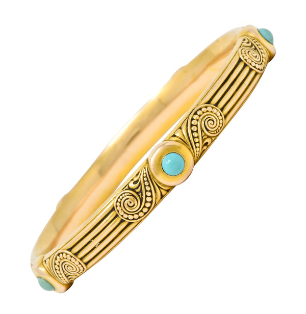 Riker Brothers Art Nouveau Turquoise Cabochon 14 Karat Gold Bangle Bracelet - Wilson's Estate Jewelry