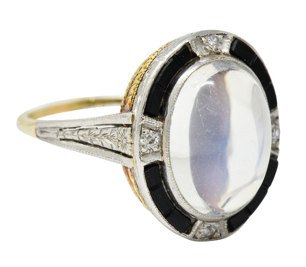 Edwardian Moonstone Onyx Diamond Platinum-Topped 14 Karat Gold Ring
