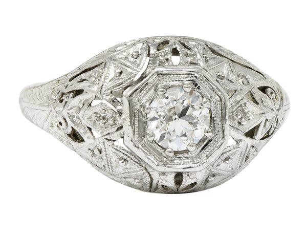 Early Art Deco 0.34 CTW Diamond Platinum-Topped 18 Karat White Gold Foliate Engagement Ring
