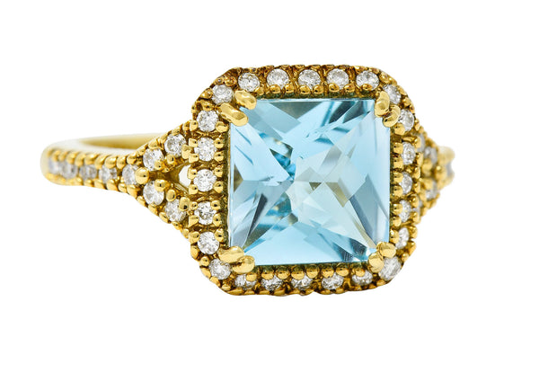Square Checkerboard Cut Blue Topaz Diamond Halo 18 Karat Gold Ring