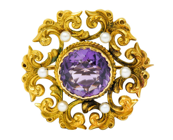 Art Nouveau Amethyst Pearl 14 Karat Gold Watch Pin Brooch