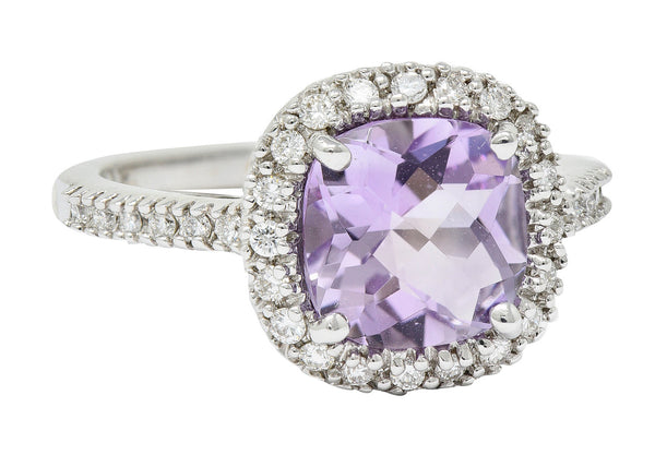 Checkerboard Cut Amethyst Diamond Halo 18 Karat White Gold Cocktail Ring