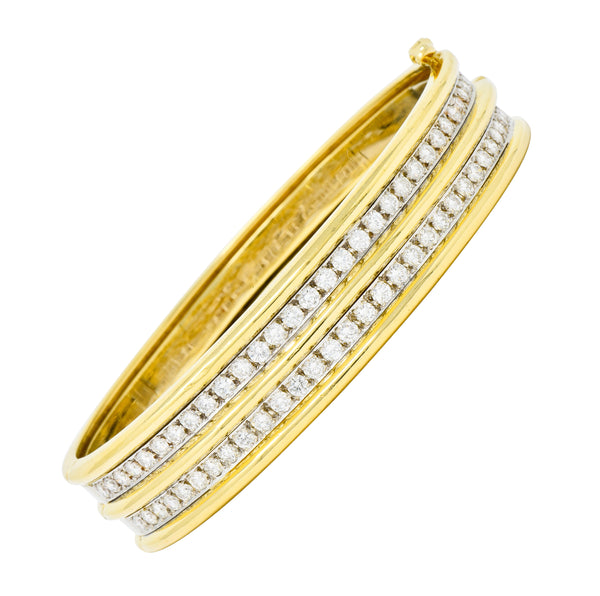 Vintage 5.00 CTW Diamond 18 Karat Two-Tone Gold Double Row Hinged Bangle Bracelet - Wilson's Estate Jewelry