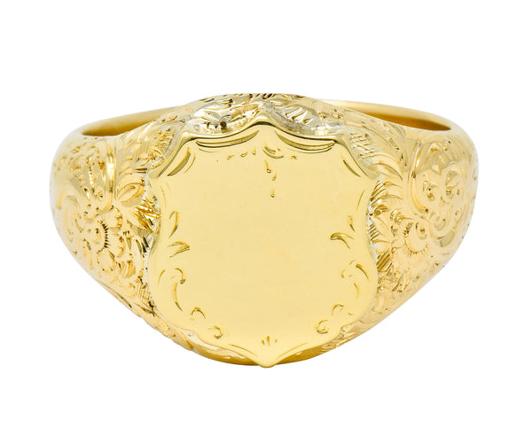 Victorian 18 Karat Yellow Gold Unisex Floral Shield Unisex Signet Ring - Wilson's Estate Jewelry