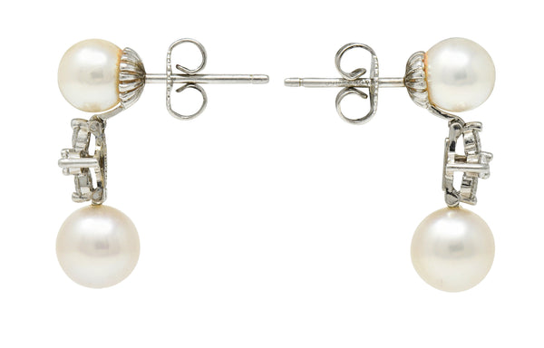Tiffany & Co. Cultured Pearl Diamond Platinum Tiffany Aria Drop Earrings