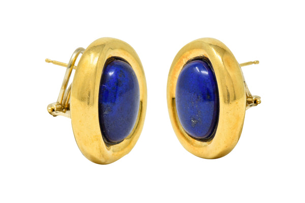 Vintage Italian Baraka Lapis Cabochon 18 Karat Gold Earrings