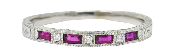 Contemporary Ruby Diamond 14 Karat Gold Stacking Band