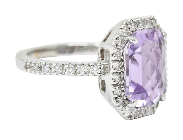 Octagonal Amethyst Diamond Halo 18 Karat White Gold Gemstone Ring