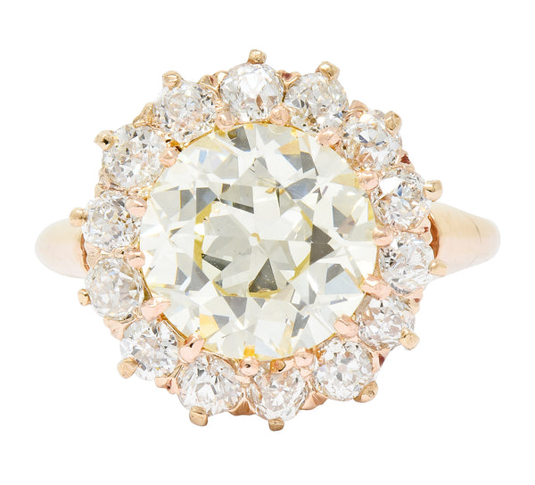 Victorian 4.94 CTW Old European Cut Diamond 14 Karat Rose Gold Cluster Engagement Ring GIA - Wilson's Estate Jewelry