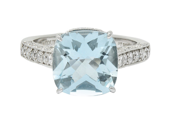 Checkerboard Cushion Cut 5.95 CTW Aquamarine Diamond Platinum Cocktail Ring