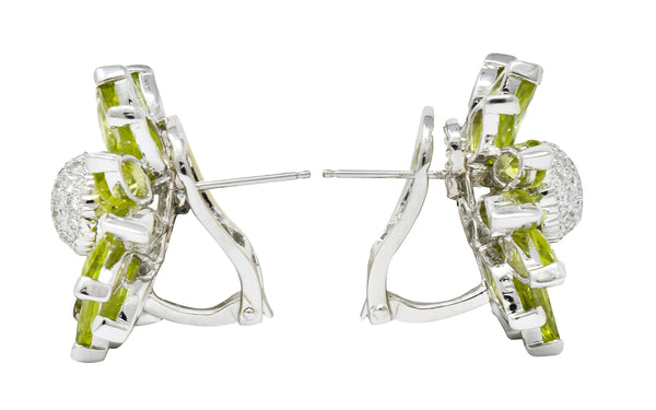 .11111 *1950's Mid-Century Diamond Peridot 18 Karat White Gold Radiating Floral Earrings - Wilson's Estate Jewelry