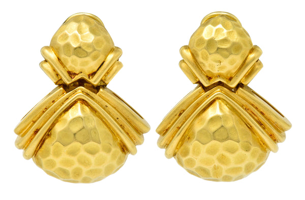 Hammerman Brothers Vintage 18 Karat Gold Hammered Doorknocker Earrings