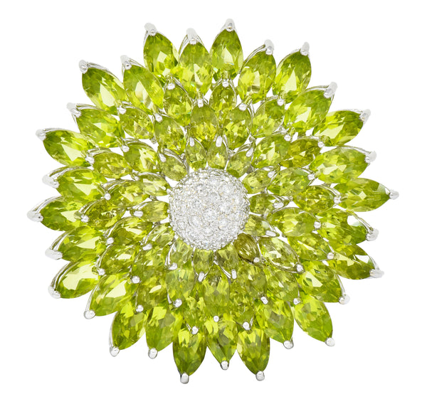 Contemporary Diamond Peridot 18 Karat White Gold Radiating Floral Brooch - Wilson's Estate Jewelry