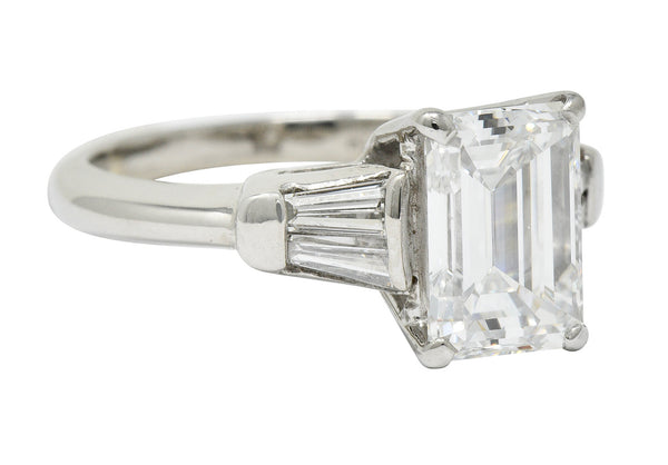 Retro 2.47 CTW Emerald Cut Diamond Platinum Engagement Ring GIA