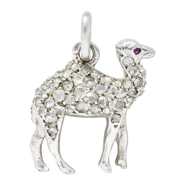 .11111 *French Cartier Edwardian Rose Cut Diamond Platinum Camel Charm - Wilson's Estate Jewelry