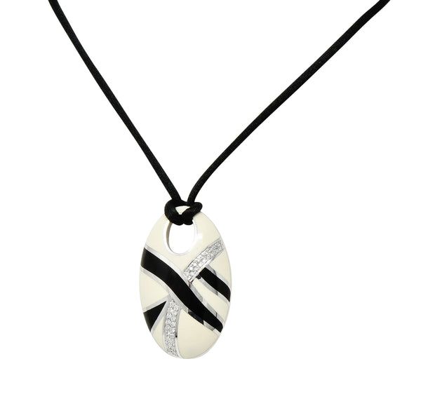 Roberto Coin Diamond Enamel 18 Karat White Gold Vintage Italian Pendant Necklace