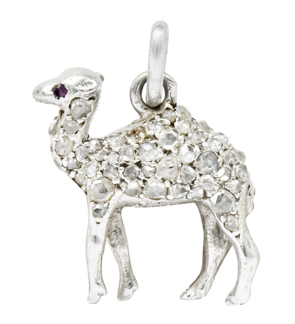 French Cartier Edwardian Rose Cut Diamond Platinum Camel Charm - Wilson's Estate Jewelry