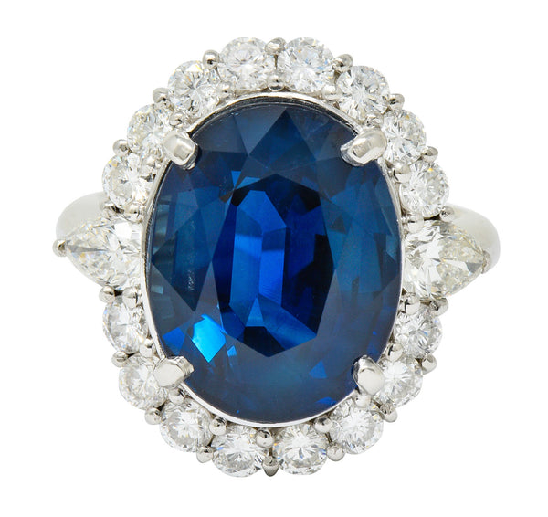 Impressive 14.16 CTW Sapphire Diamond Platinum Cluster Statement Ring GIA