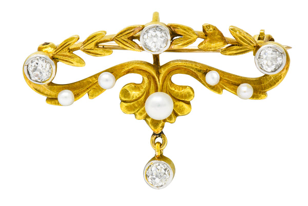 Art Nouveau Diamond Pearl Platinum-Topped 14 Karat Gold Articulated Foliate Brooch - Wilson's Estate Jewelry