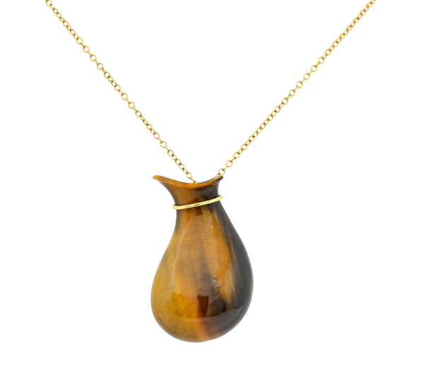 Elsa Peretti Tiffany & Co. Tiger's Eye Quartz 18 Karat Gold Bottle Jug Pendant Necklace