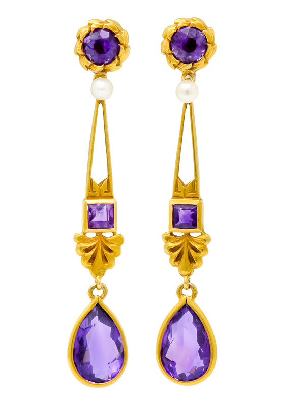 Victorian Amethyst Pearl 14 Karat Gold Foliate Drop Earrings