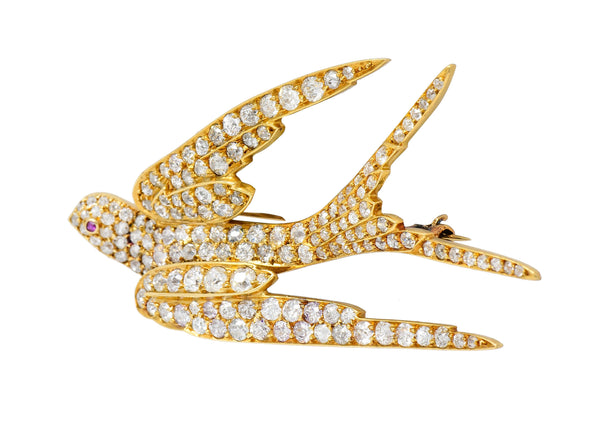 Late Victorian 6.45 CTW Diamond 18 Karat Gold Swallow Brooch