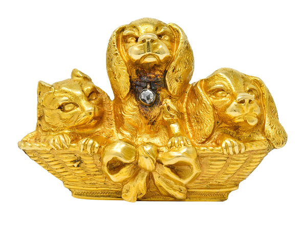 French Victorian Rose Cut Diamond 18 Karat Gold Puppy Brooch