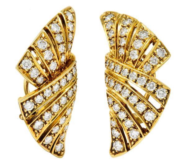 Dankner Vintage 2.25 CTW Diamond 18 Karat Gold Fanned Ear-Clip Earrings